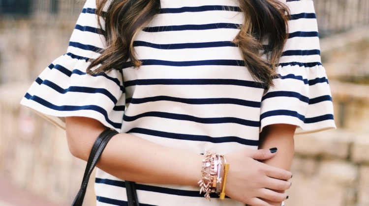 Casual Weekend Outfit- Stripes + Ruffles