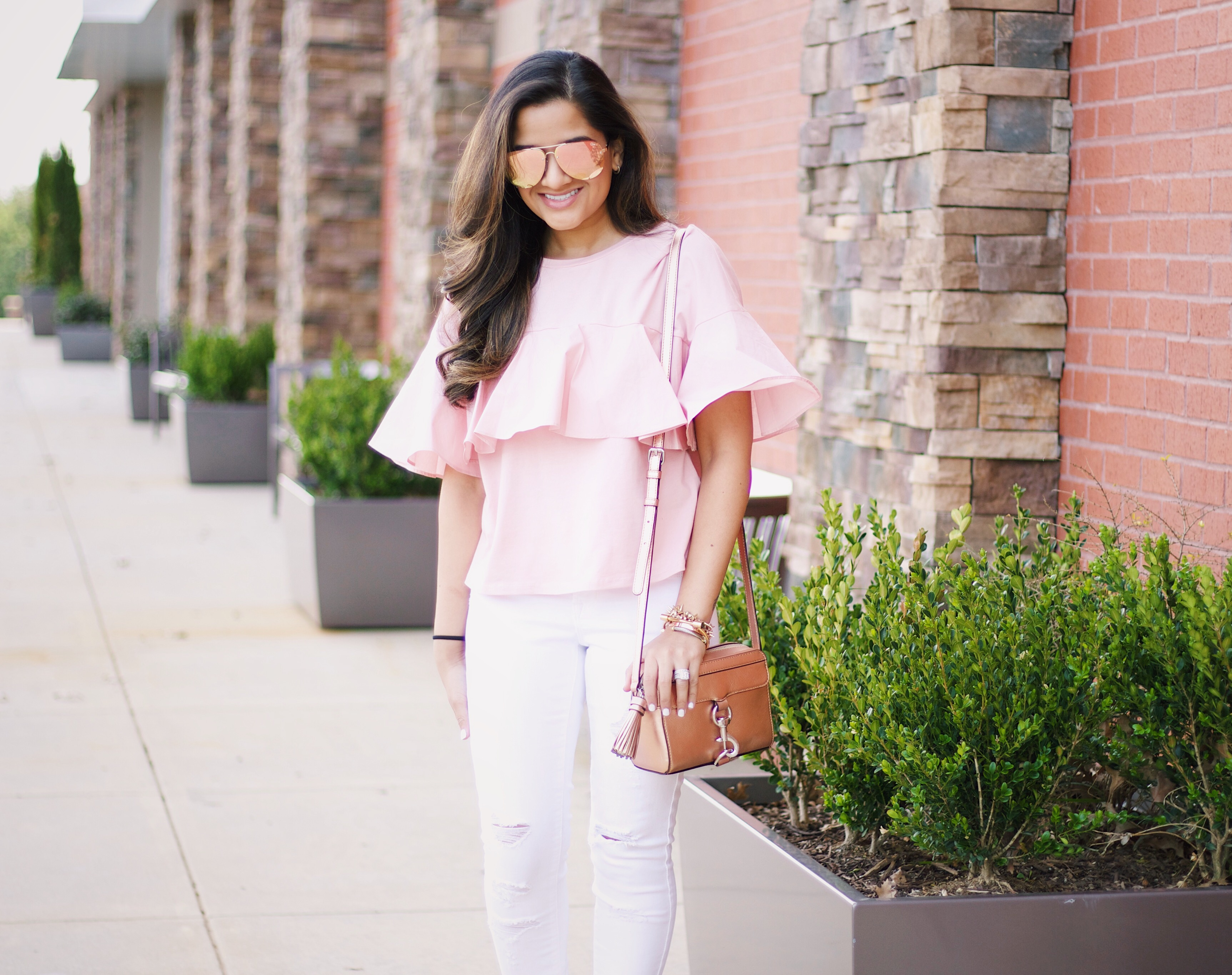 blush pink and white
