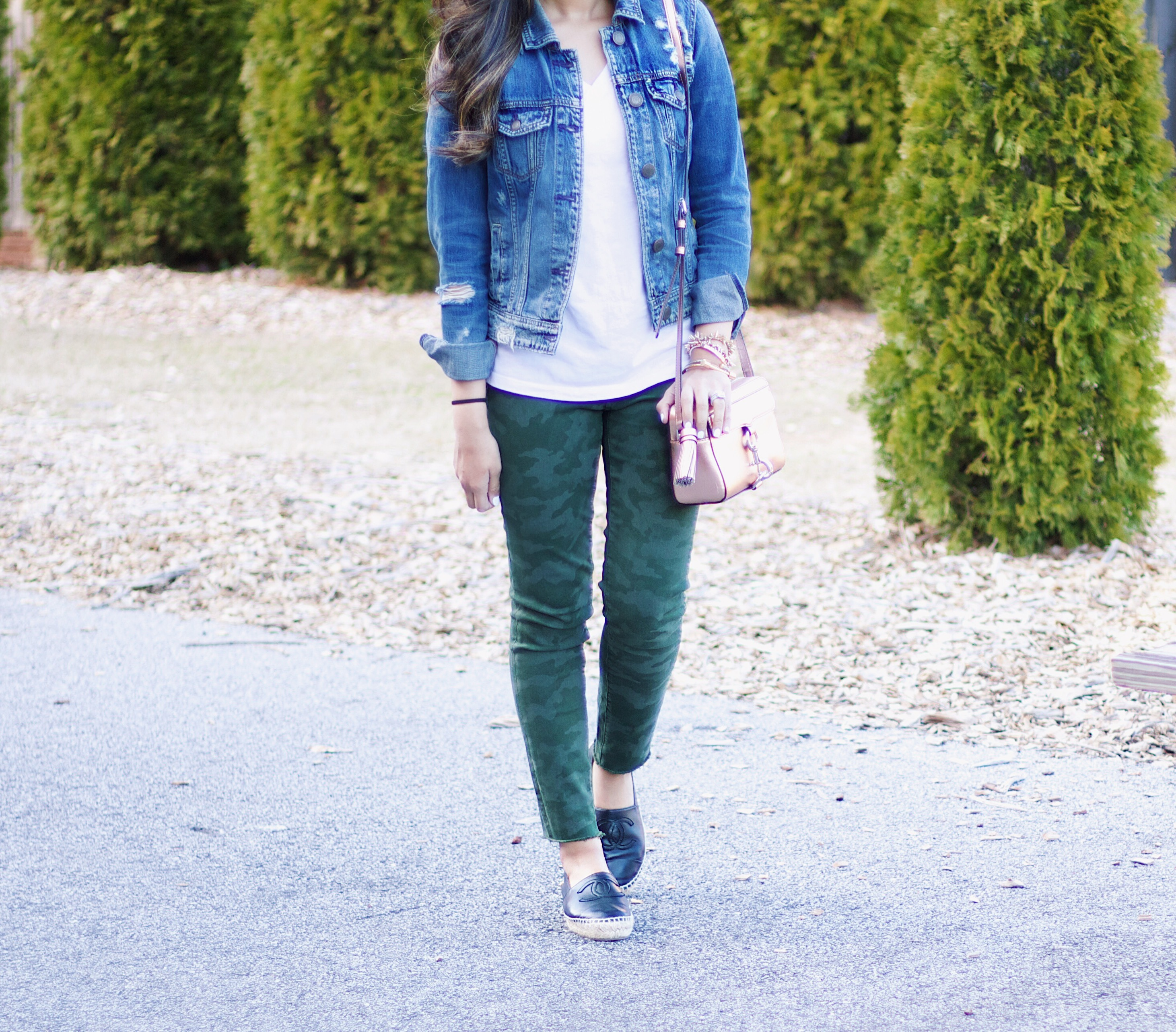 camo pants with denim jacket