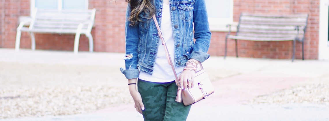Transitioning Into Spring – Camo Pants + Denim Jacket