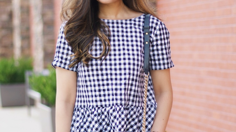 Gingham Peplum Top for Date Night