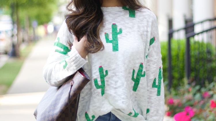 Cactus Sweater & Distressed Jeans